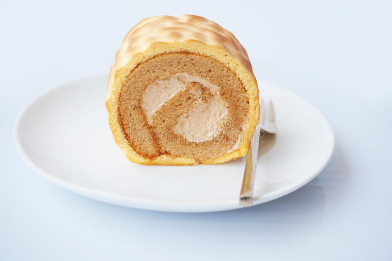 Cream butter and coffee cake royalty free stock photography