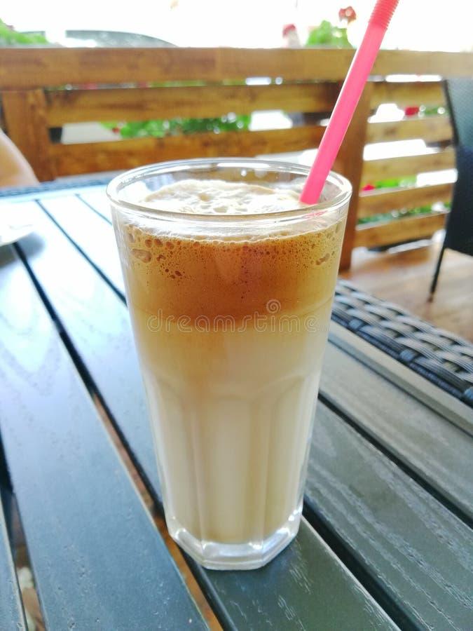 Cream caffe glass stock photos