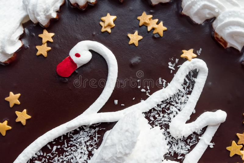 Cream cake with the image of a Swan. Detail. Cream cake with the image of a Swan. Detail royalty free stock photos