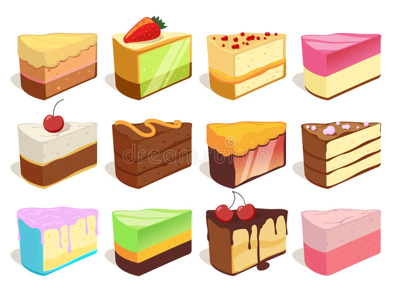 Cream cake slices pieces. Vector illustrations set in cartoon style vector illustration