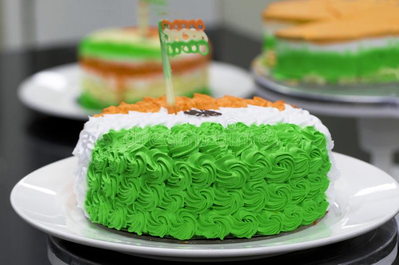 Cream Cake Independence Day or Republic Day Special.Indian National Flag colours like saffron, white and green. 15th August India. Concept for Happy royalty free stock images