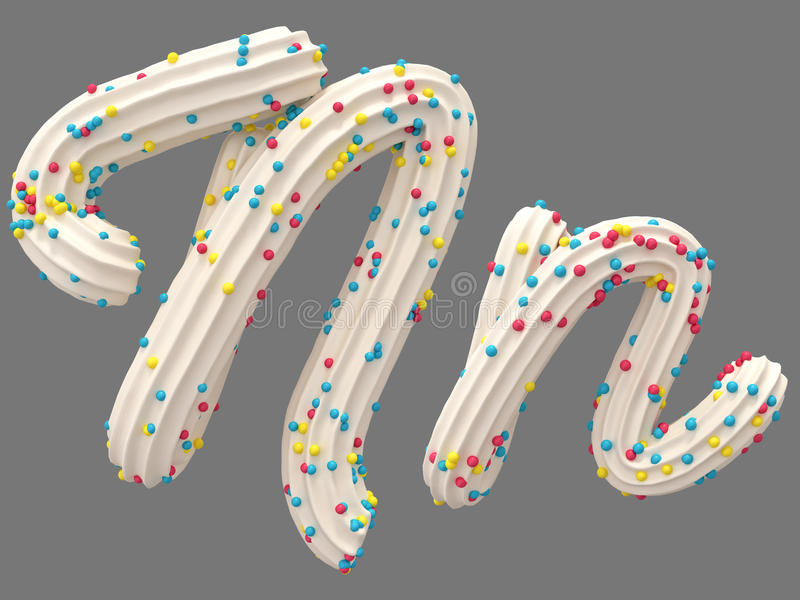 Cream and candy font. White cream and color candy font. isolated background. 3D illustration stock illustration