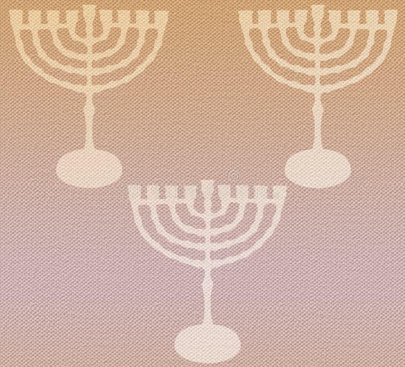 2019 Hanukkah Menorah vintage pattern textile texture. Hanukkah Menorah pattern craft texture. Hanukkah Festival of lights, cream color festive Background vector illustration