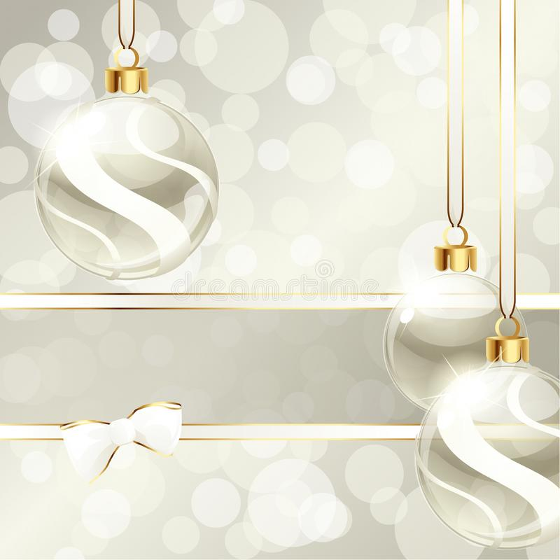 Cream-colored banner with Christmas ornaments stock illustration