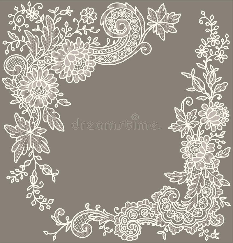 Free Cream-Colored Lace. Corners. Royalty Free Stock Photo - 54878985