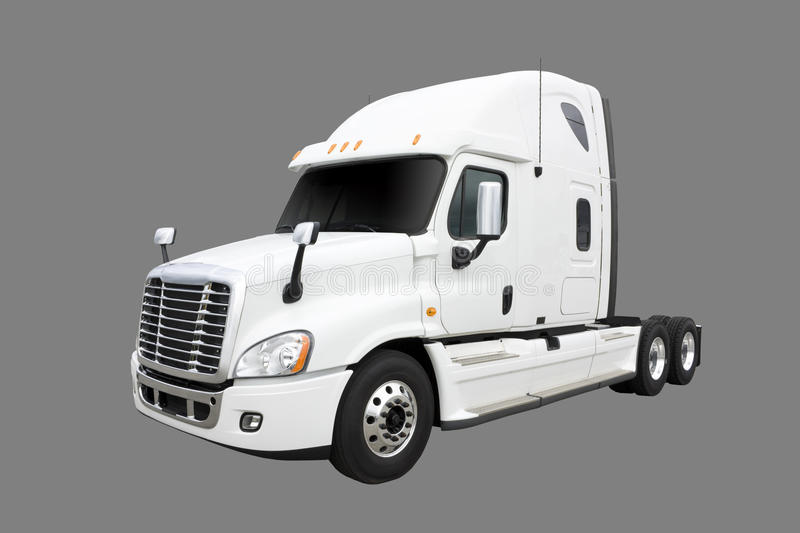 Cream colored Transport truck stock photo
