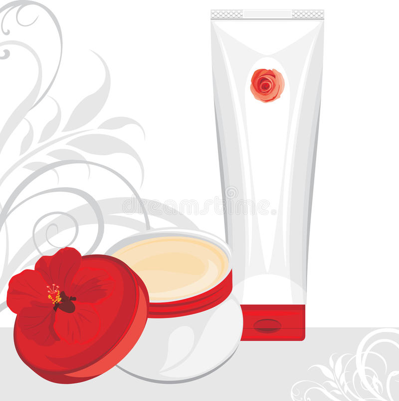Download Cream Containers On The Ornamental Background Stock Vector - Image: 32893874