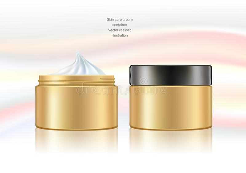 Cream container opened and closed. royalty free illustration