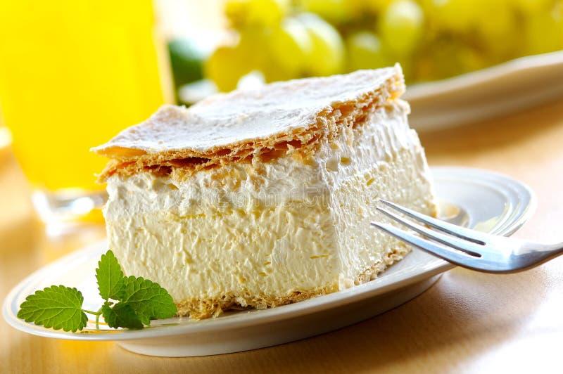 Cream and custard pastry stock image