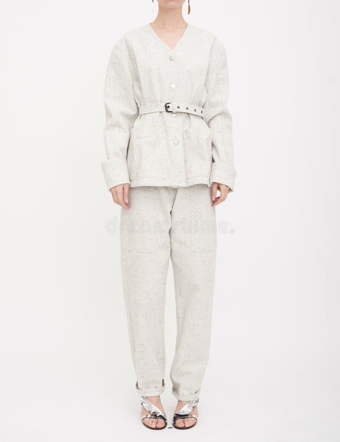 Cream Double Silk Chiffon Sheer Andrea Blouse, Bow Back Blouse arkivfoto