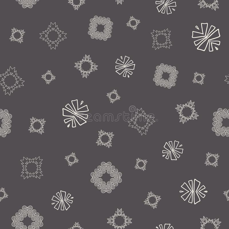 Cream and grey tribal abstract seamless pattern. Great for folk modern wallpaper, backgrounds, invitations, packaging design projects, scrapbooking. Surface royalty free illustration