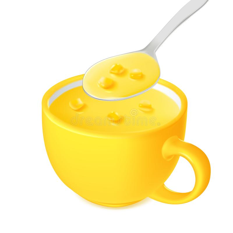 Cream instant corn soup in a spoon and a yellow cup, liquid food, design for packaging 矢量 库存例证
