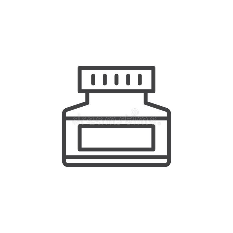 Cream jar outline icon vector illustration