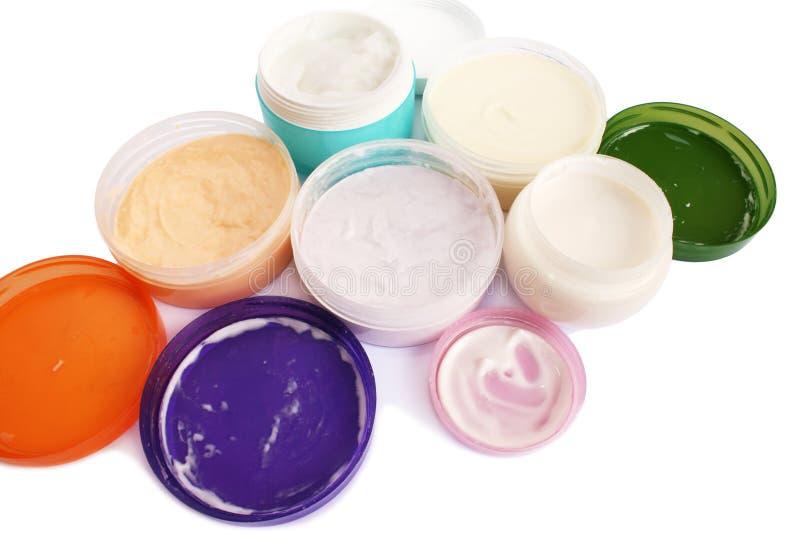 Cream jars stock photos