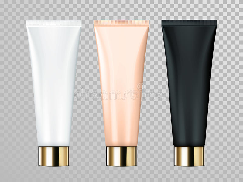 Cream or lotion tube vector skin care cosmetic package template vector illustration