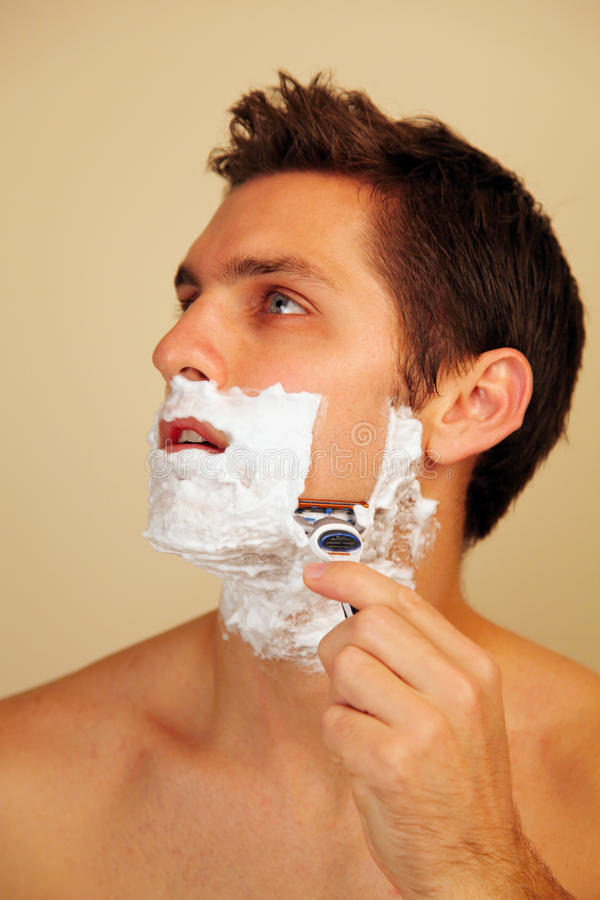 cream man putting shaving στοκ εικόνες