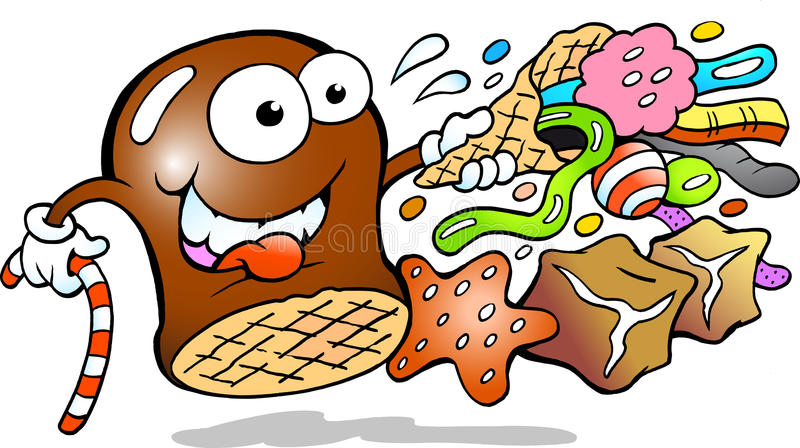 Cream Puff and Candy vector illustration