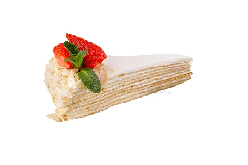 Cream puff pastry cake. Isolated on white background. Delicate delicious dessert decorated with fresh strawberries royalty free stock images
