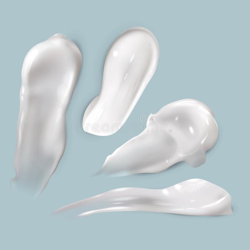 Cream smears. Realistic cosmetic white creamy drop skincare product lotion thick smooth smear isolated vector texture. Set stock illustration