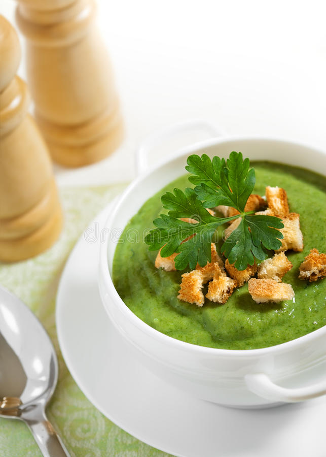 Download Cream Soup With Dried Crusts On The Tablecloth Stock Image - Image: 25137867