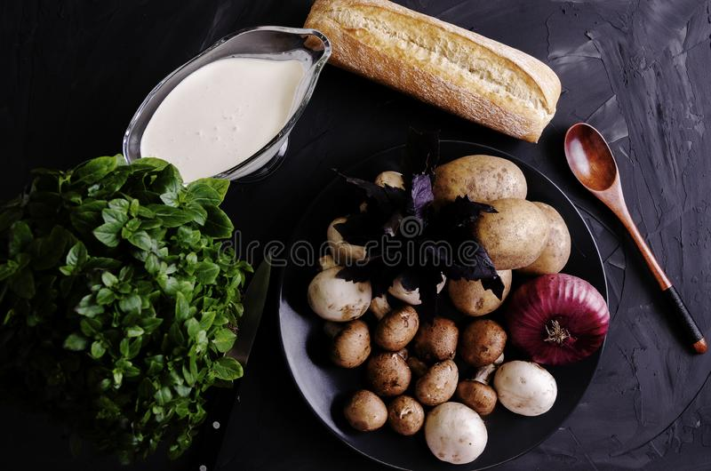 Cream soup made from mushrooms with bread. Cream soup made from mushrooms with crispy bread and oregano on black phone stock photography