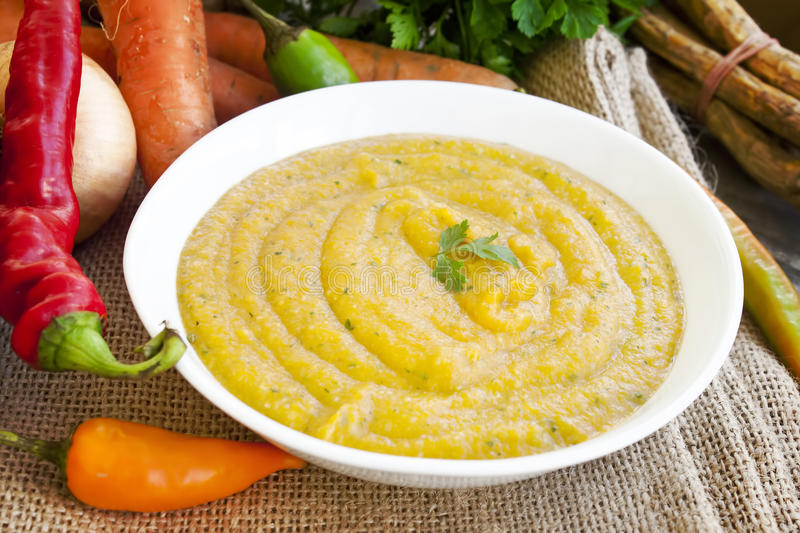 Cream soup with Vegetables royalty free stock photo