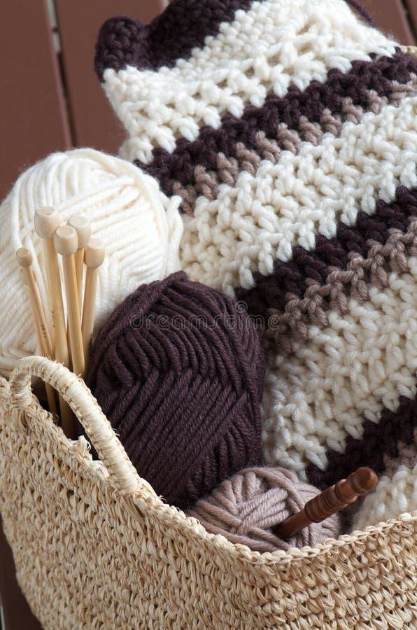 Knitting hobby basket stock photo