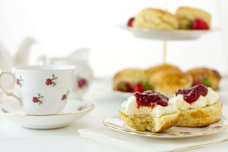 Cream tea scene stock photos