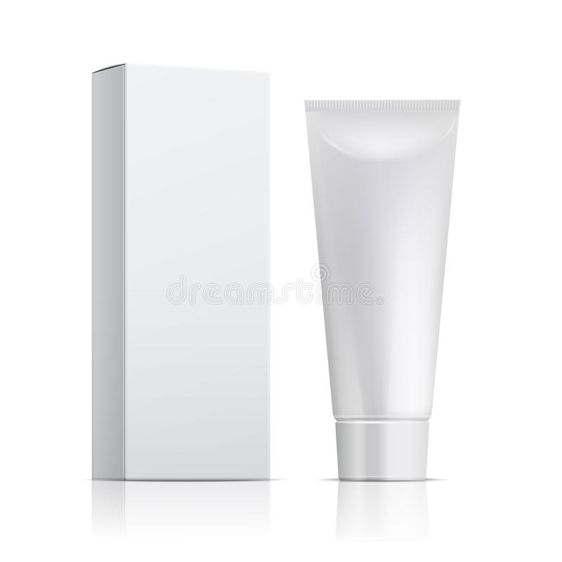 Cream tube and packaging. Ointment or toothpaste box mockup. 3d white cosmetic gel vector template stock illustration