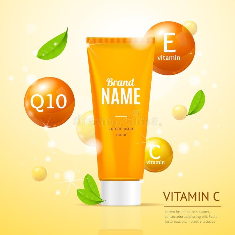 Creame tubki nawilżania produktów Kosmetyczna reklama wektor ilustracja wektor