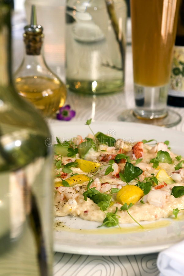 Creamed Crab salad. With lemon stock photos