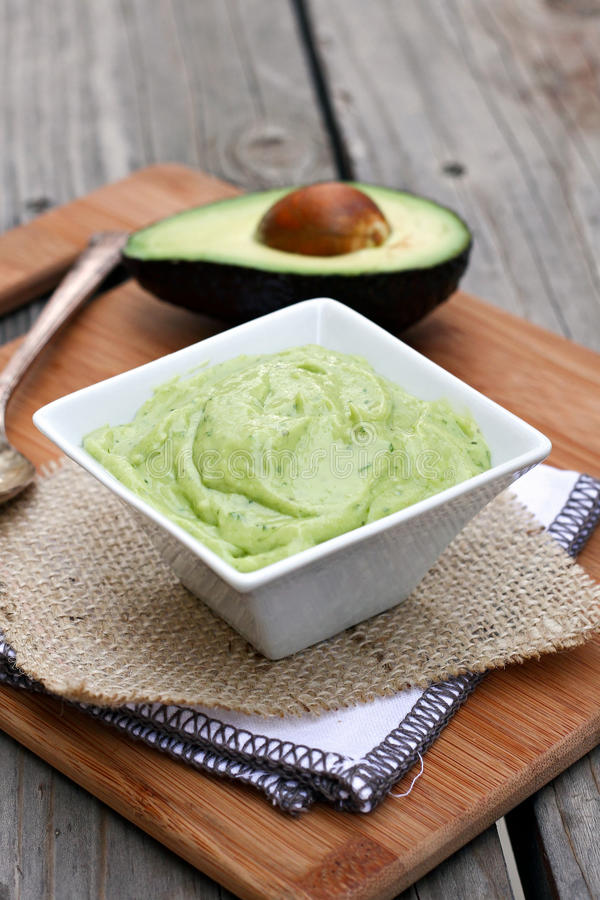 Creamy Avocado Dip. With cilantro and lime royalty free stock photo