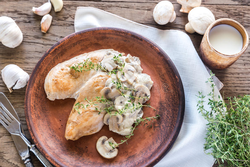 Creamy Garlic Mushroom Chicken stock photos