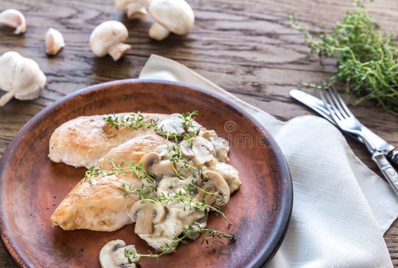 Creamy Garlic Mushroom Chicken royalty free stock photo