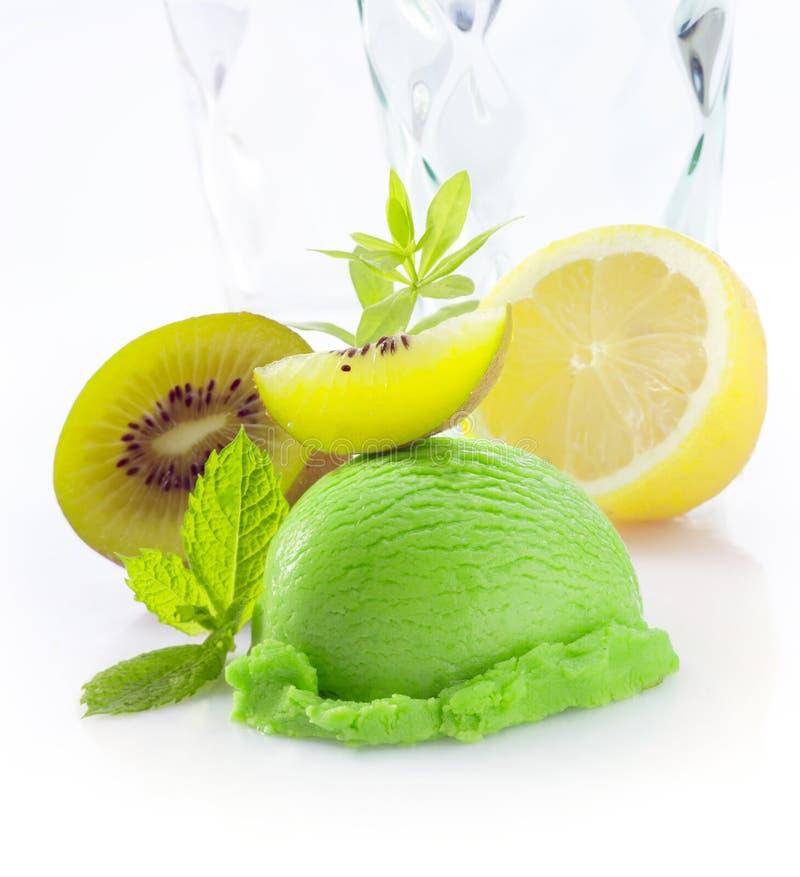 Creamy green kiwi fruit icecream stock photography