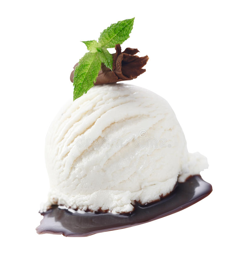 Creamy icecream served with chocolate stock images