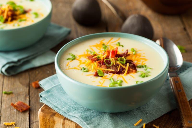 Creamy Loaded Baked Potato Soup royalty free stock photos
