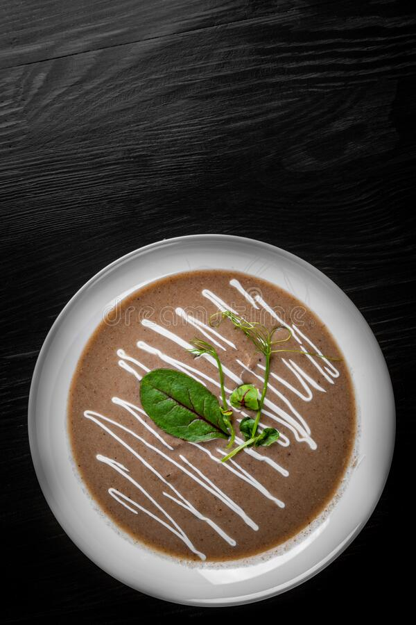 Creamy Mushroom Soup in a white plate stock photography