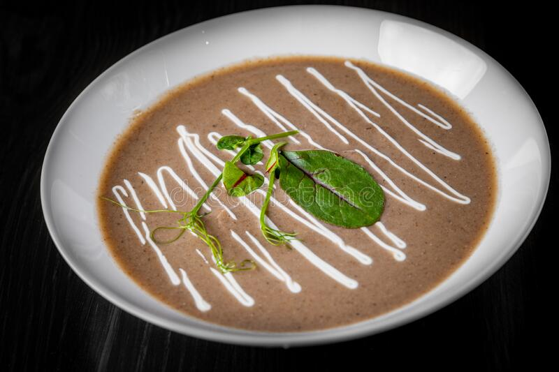 Creamy Mushroom Soup in a white plate royalty free stock images