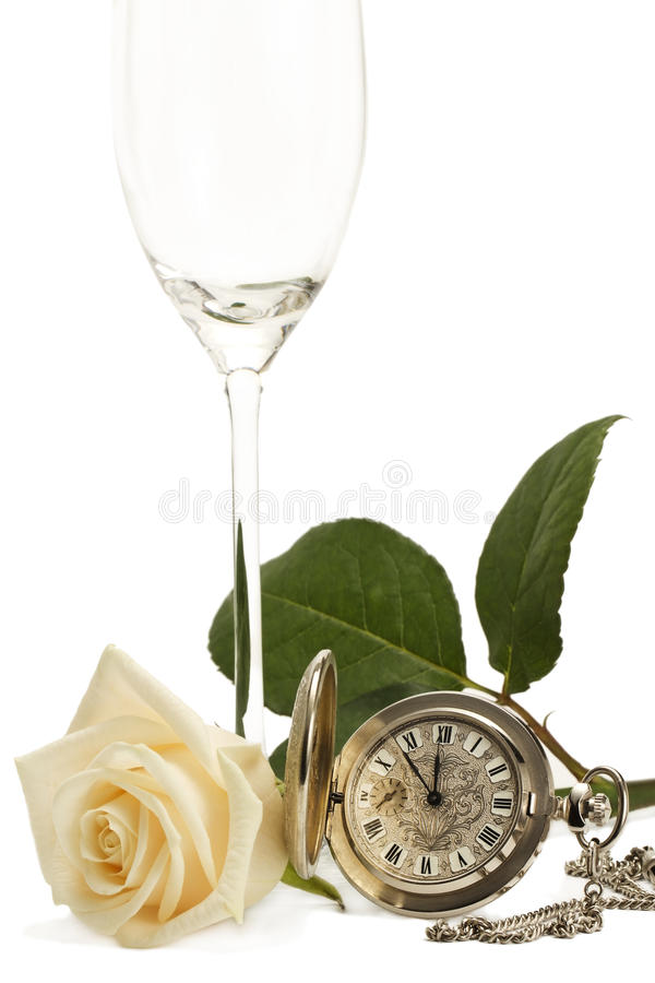 Download Creamy Rose With A Old Pocket Watch And A Empty Ch Stock Photo - Image of metallic, clock: 17184932
