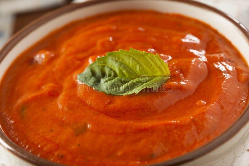 Creamy Tomato Basil Bisque Soup royalty free stock photo