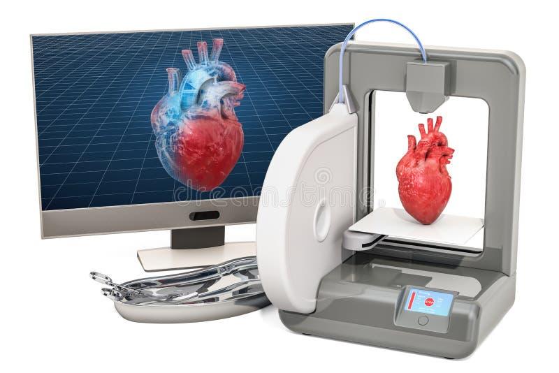Creando el corazón artificial en la impresora tridimensional, impresión 3d en concepto de la medicina representación 3d stock de ilustración