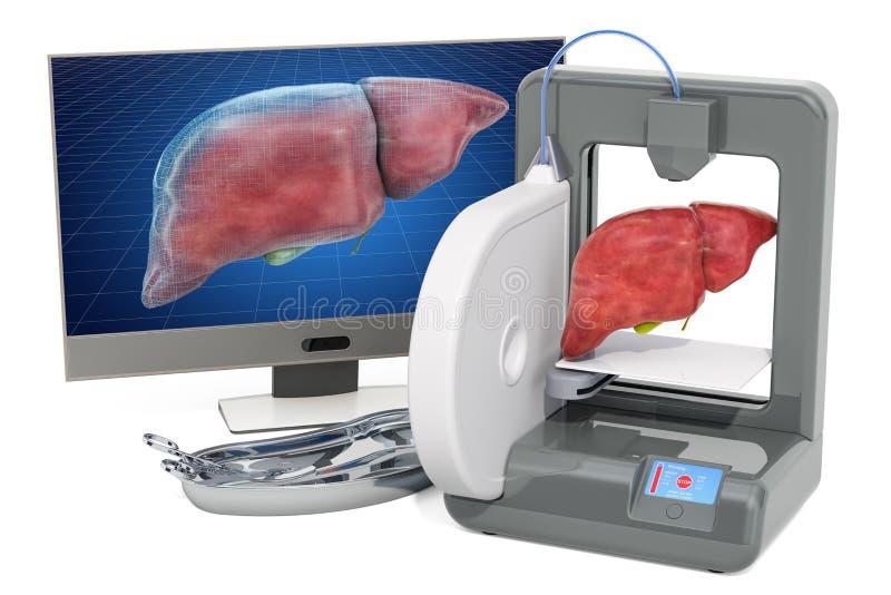 Creando el hígado artificial en la impresora tridimensional, impresión 3d en concepto de la medicina representación 3d ilustración del vector