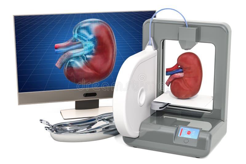 Creando el riñón artificial en la impresora tridimensional, impresión 3d en concepto de la medicina representación 3d stock de ilustración