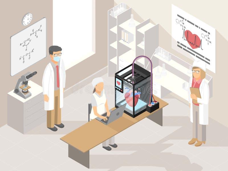 Crear el corazón tridimensional bajo control informático en vector del laboratorio libre illustration