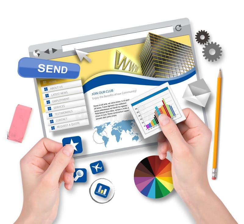 Crear la plantilla del sitio web con el diseñador gráfico stock de ilustración