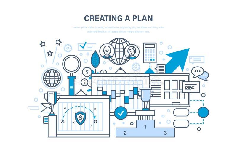 Crear plan Plan del trabajo Gestión de tiempo, tiempo de trabajo de la optimización, planeando ilustración del vector