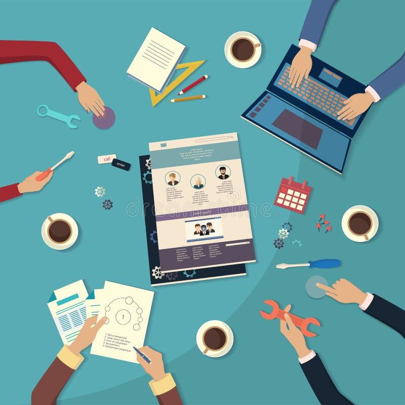 Crear sitio web Diseño plano libre illustration