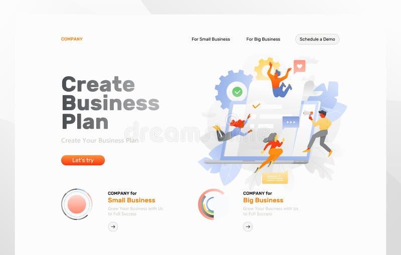 Creare la pagina Web del business plan royalty illustrazione gratis