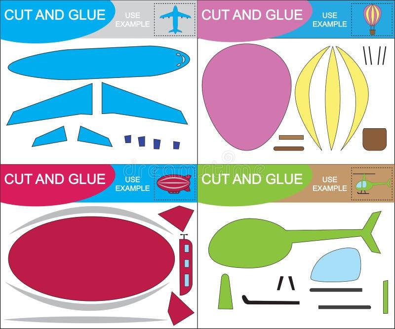 Creare le immagini dei trasporti aerei Taglio e colla, gioco di carta per bambini Figura vettoriale illustrazione di stock